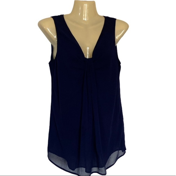 St. John Couture Navy Silk Sleeveless Lined Top